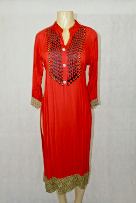 Red kurti with black details