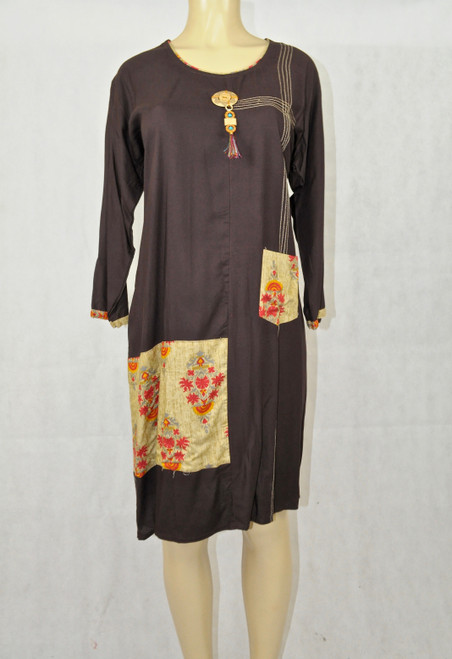 Brown kurti with floral designs