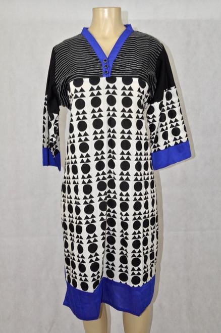 Blue kurti with black & white shapes