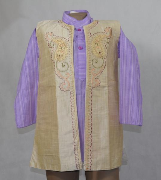 Beige and Purple Designer Kurta set