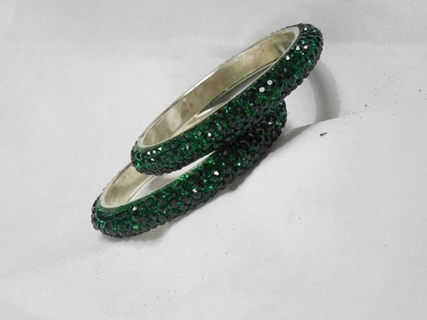 Stone Bangles - Green D71 (Double)