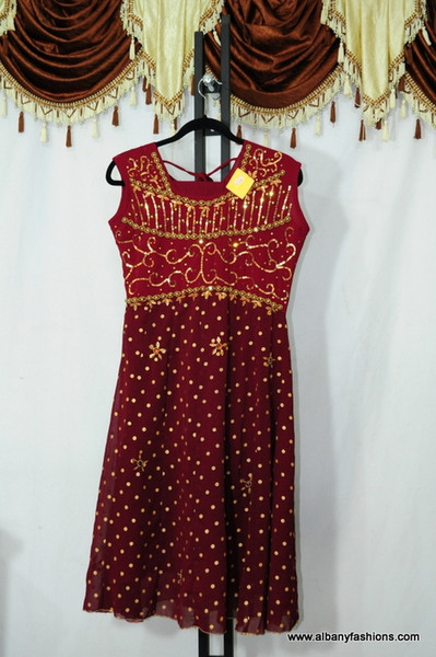 Red dotted Chumki Churidar