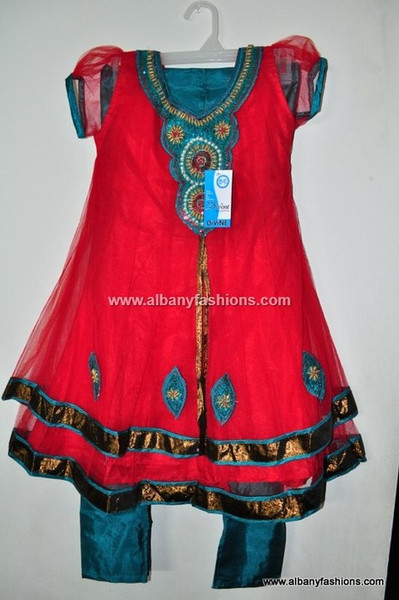 Red Double Layer Girls Churidar Set Size 32