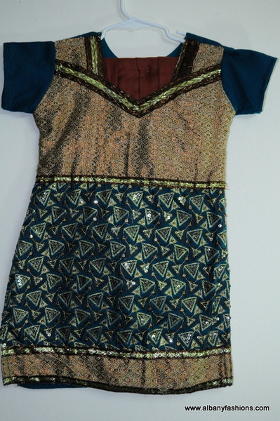 Green Salwar Suit Brown Pants Size 30,34