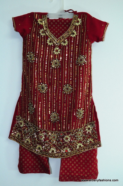 Red Chamki Patiyala Suit for Girls Size 22
