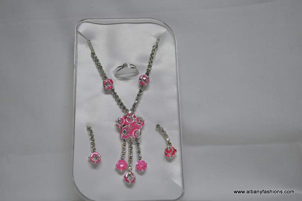 Silver Chain with Pink Pendants and  Ear Rings Set