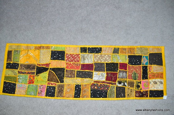 Indian Wall Hanging - Rectangle - Yellow with Beads