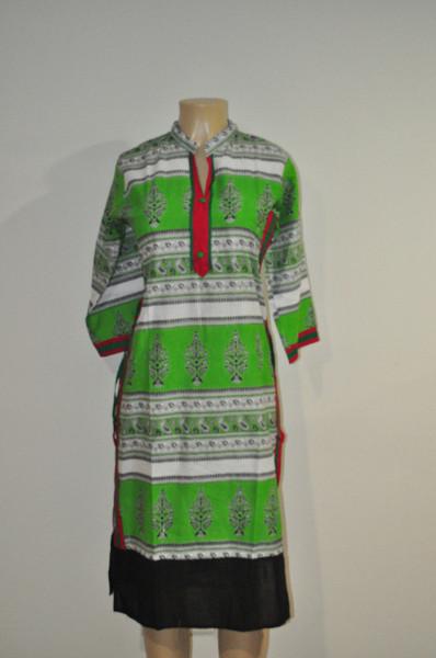 Designer Long Kurti - GreenWhite