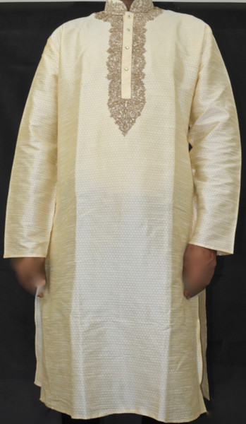 Cream Kurta w/ Gold Stitching