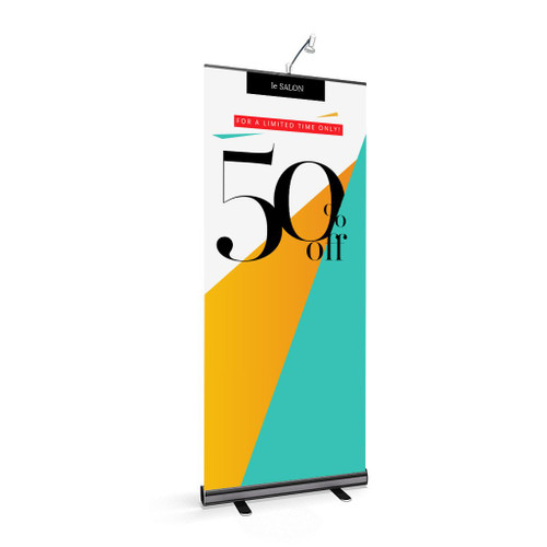 Rollup 1 Retractable Banner Stand close up view.