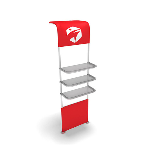 WaveLine® Waterfall Display Shelving for Trade Show Exhibits outside shelf and half graphic