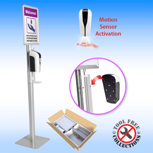 Portable Hand Sanitizer Station with Overhead Signage