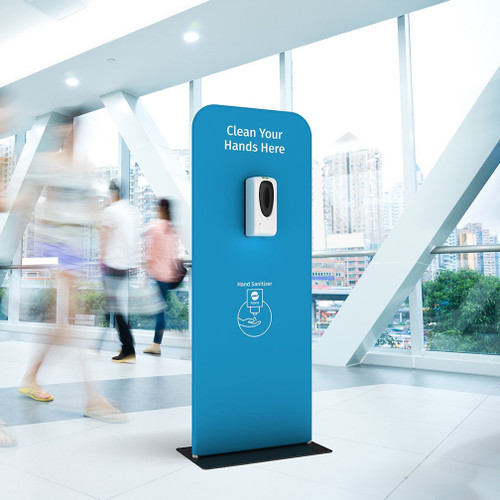 """Hanz Automatic Hand Sanitizer Dispenser and Stand (24""""W x 60""""H) Custom Graphic"""