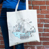 Theo Cityscape Canvas Tote Bag lifestyle 2