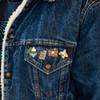 Theo 4-Pack Enamel Pins on Jacket