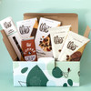 Coffee and Chocolate lover gift box contents in green and blue gift box