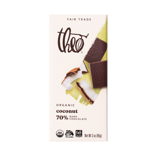 Theo Coconut 70% Dark Chocolate Bar, 3 oz