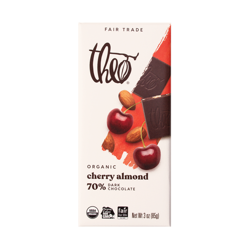 Theo Cherry Almond 70 Dark Chocolate Bar, 3 oz