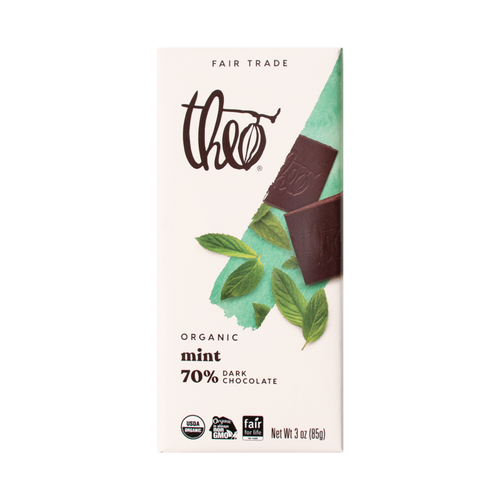 Theo Mint 70% Dark Chocolate Bar, 3 oz