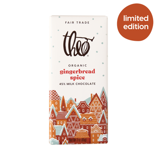 Theo Chocolate Gingerbread Spice 45% Milk Chocolate Bar