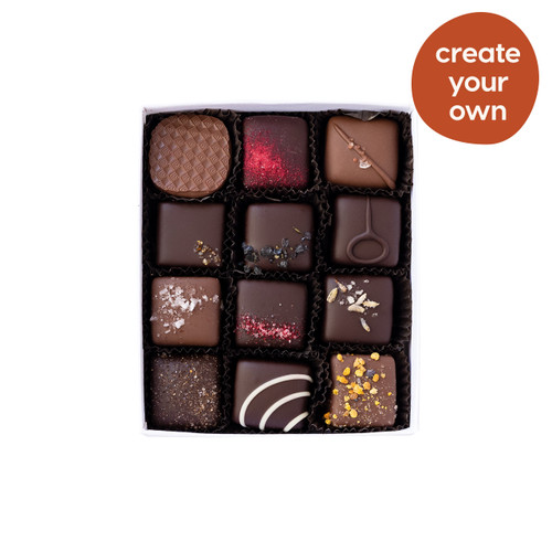 Create Your Own Confection Box: select your box size, confections and ribbon to create the perfect box