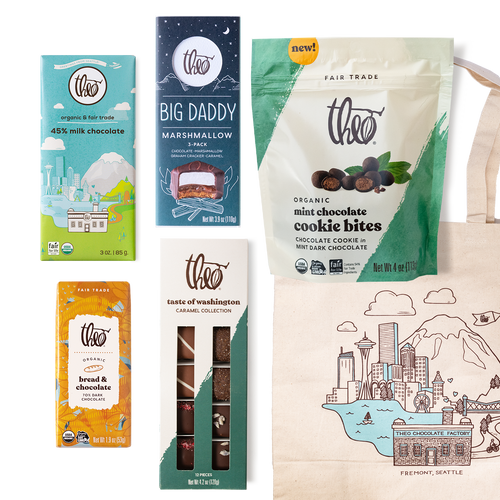 Flagship Favorites Gift Box: Including Seattle Bar, Big Daddy Marshmallow, Bread & Chocolate Bar, Mint Chocolate Cookie Bites & Theo Tote