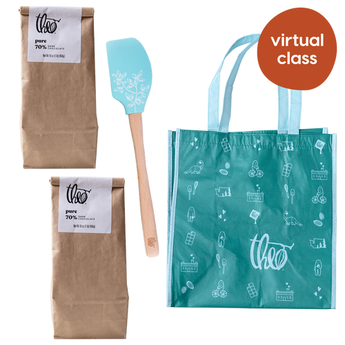 Virtual Ganache Making class kit: includes two pounds of dark chocolate, spatula and tote bag and access to live interactive virtual class.