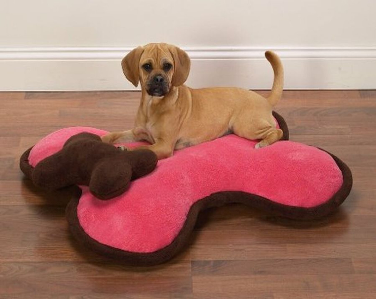 beagle puppy on a pink bone bed with brown head pillow