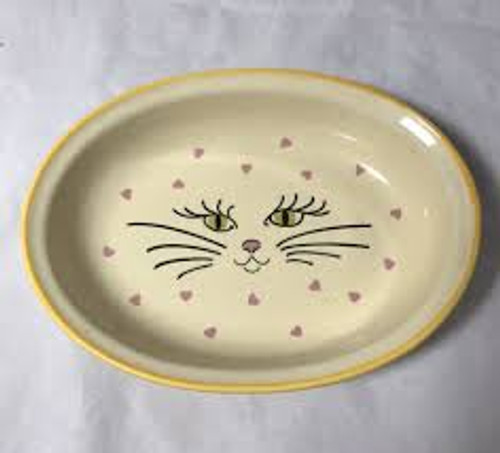 Kitty Face With Hearts Cat Food Bowl
