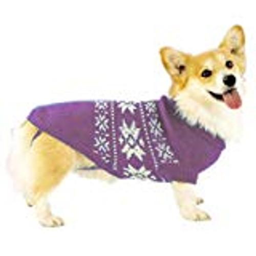 Purple snowflake dog sweater to keep them warm in WInter