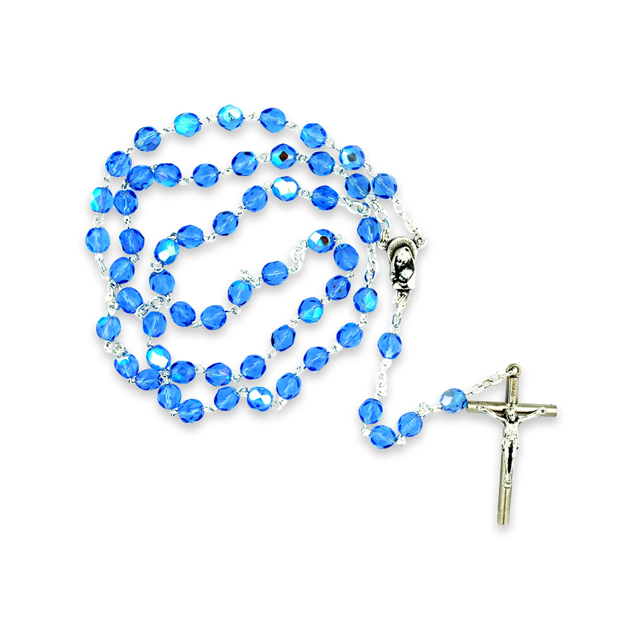 Blue Crystal Rosary Beads
