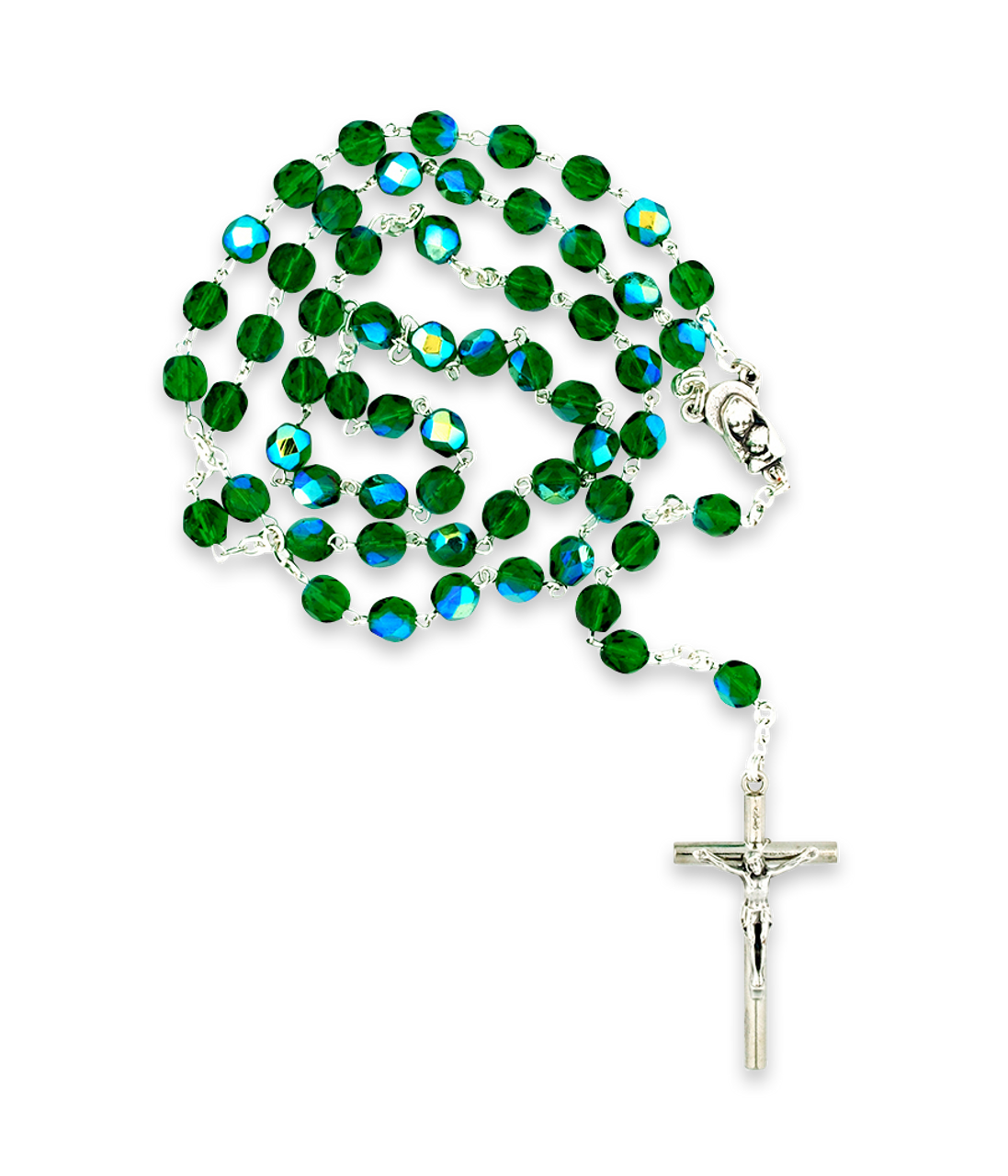 Green Crystal Rosary Beads