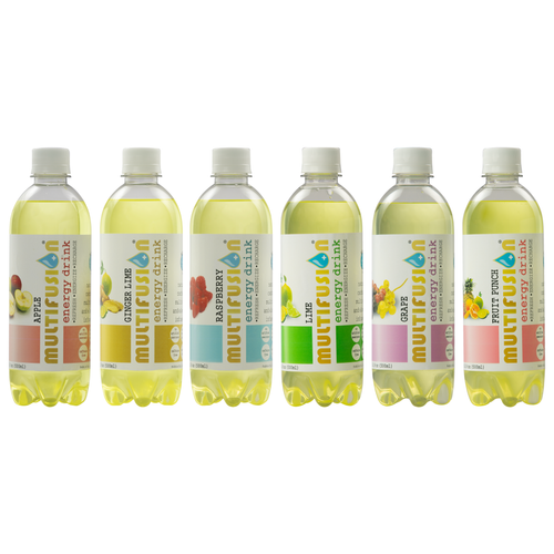 Six bottles of MULTIFUSION manufactured by Bubble Sip, LLC of all flavors in order from left to right: Apple, Ginger Lime, Raspberry, Lime, Fruit Punch, and Grape.