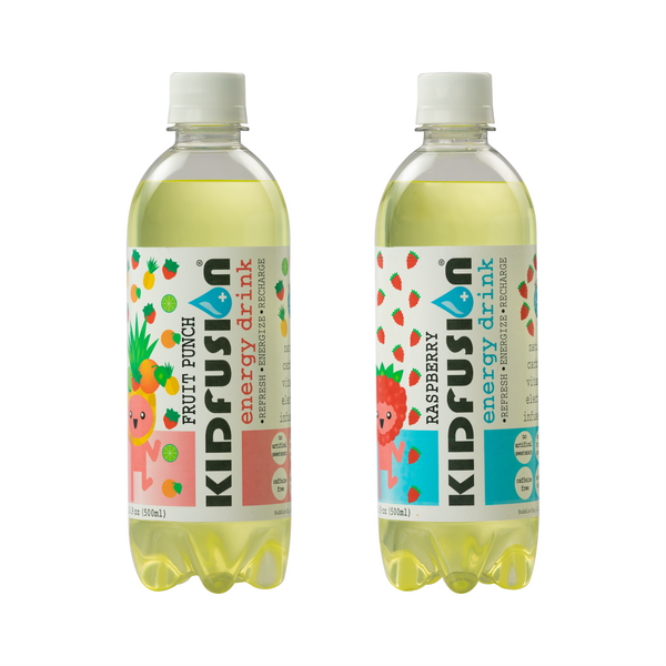 Two bottles of KIDFUSION manufactured by Bubble Sip, LLC of flavors in order from left to right: Raspberry and Fruit Punch.
