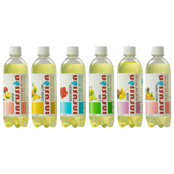 Six bottles of INFUSION manufactured by Bubble Sip, LLC of all flavors in order from left to right: Apple, Fruit Punch, Ginger Lime, Grape, Lime, and Raspberry.