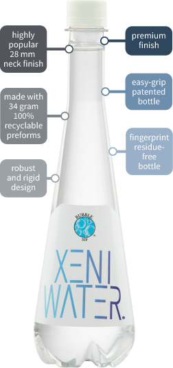 Bottle specifications for XENI WATER manufactured by Bubble Sip LLC