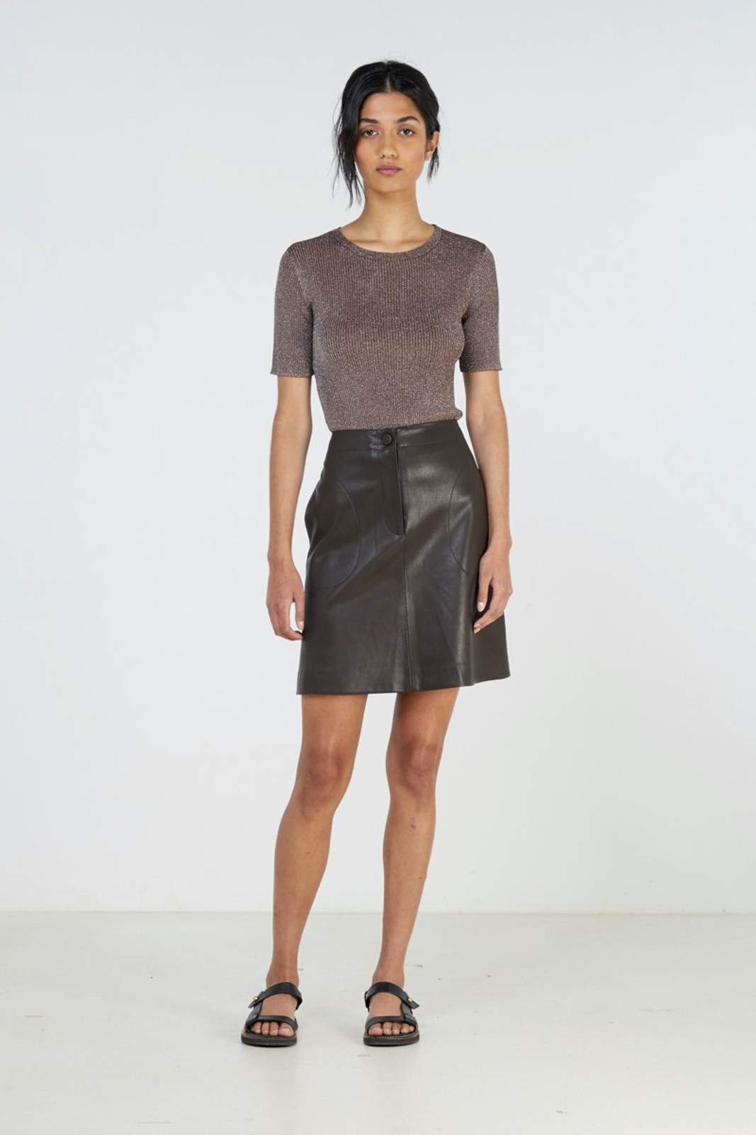 Elka Collective Waves Skirt Brown  0