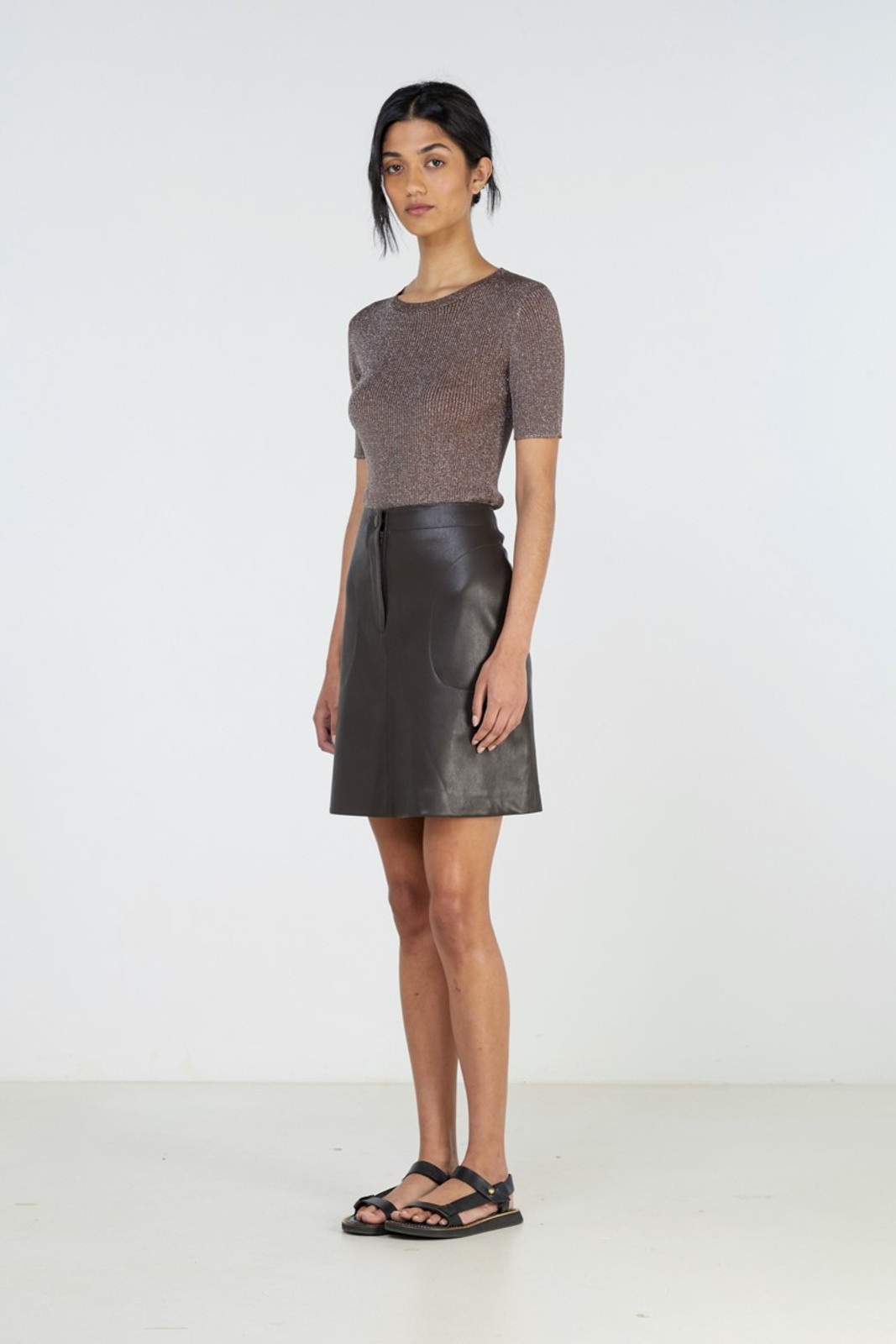 Elka Collective Waves Skirt Brown  2