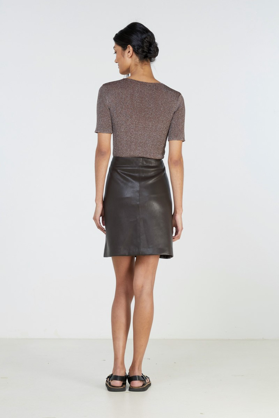 Elka Collective Waves Skirt Brown  3