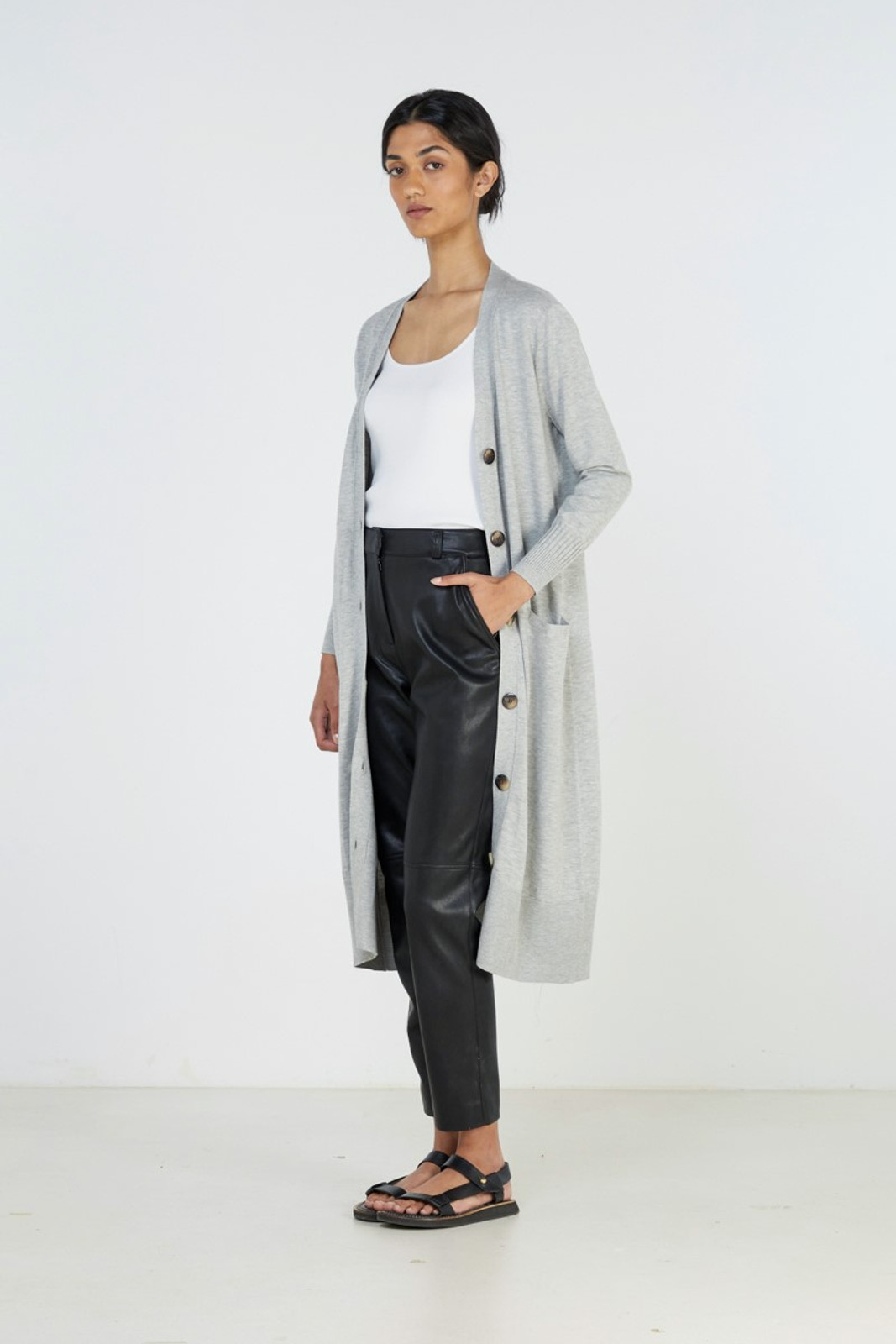 Elka Collective Slate Knit Cardi Grey  1