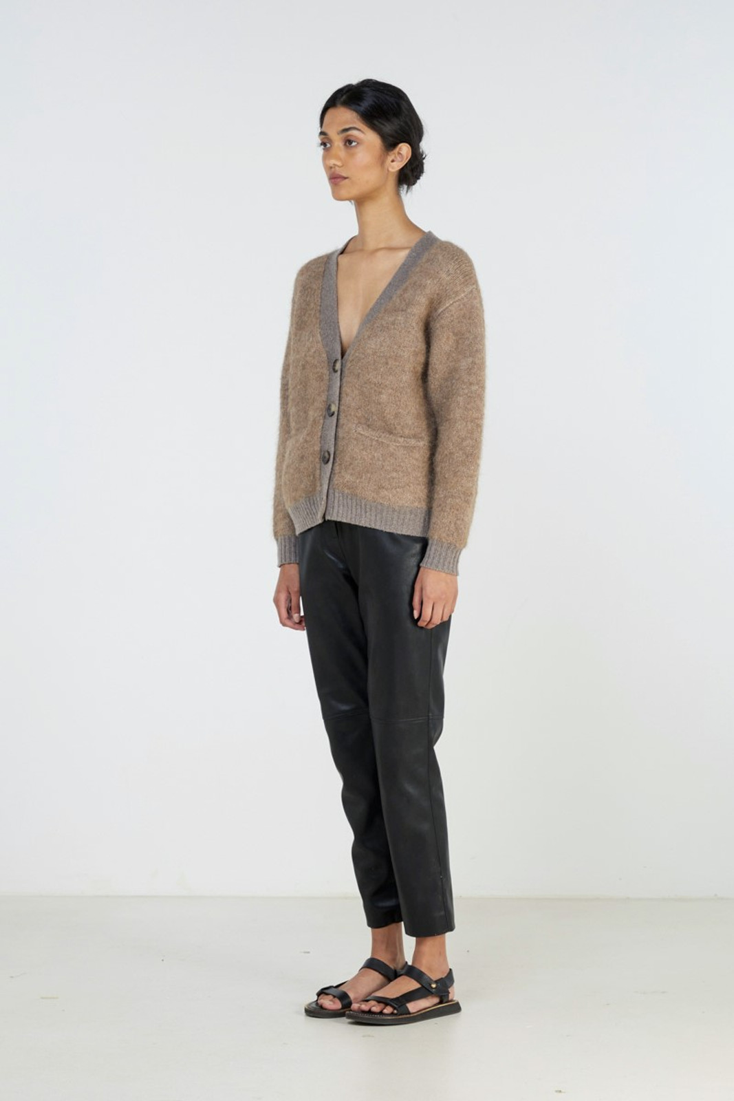 Elka Collective Unity Knit Cardi Brown  2