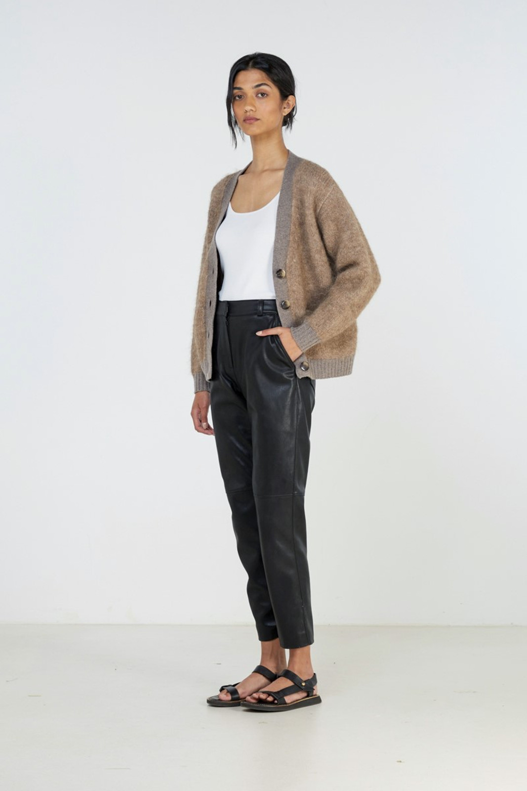 Elka Collective Unity Knit Cardi Brown  6