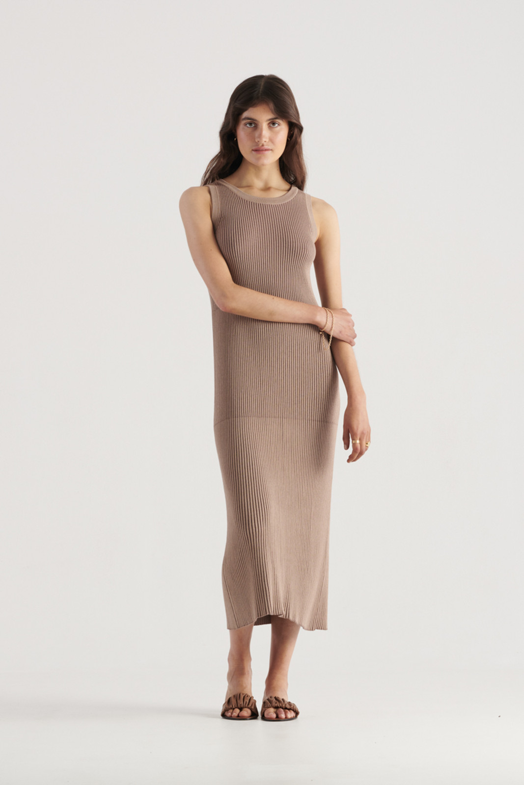 Elka Collective WomensBowie Knit Dress Taupe  0