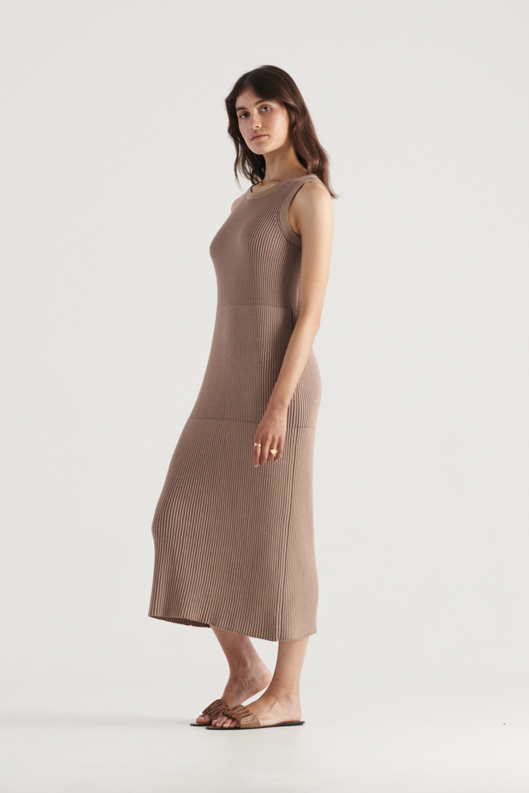 Elka Collective WomensBowie Knit Dress Taupe  1