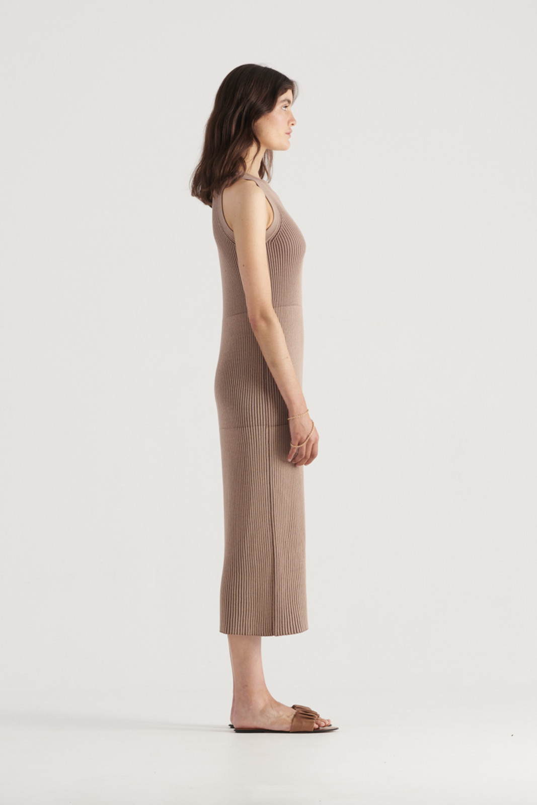 Elka Collective WomensBowie Knit Dress Taupe  3