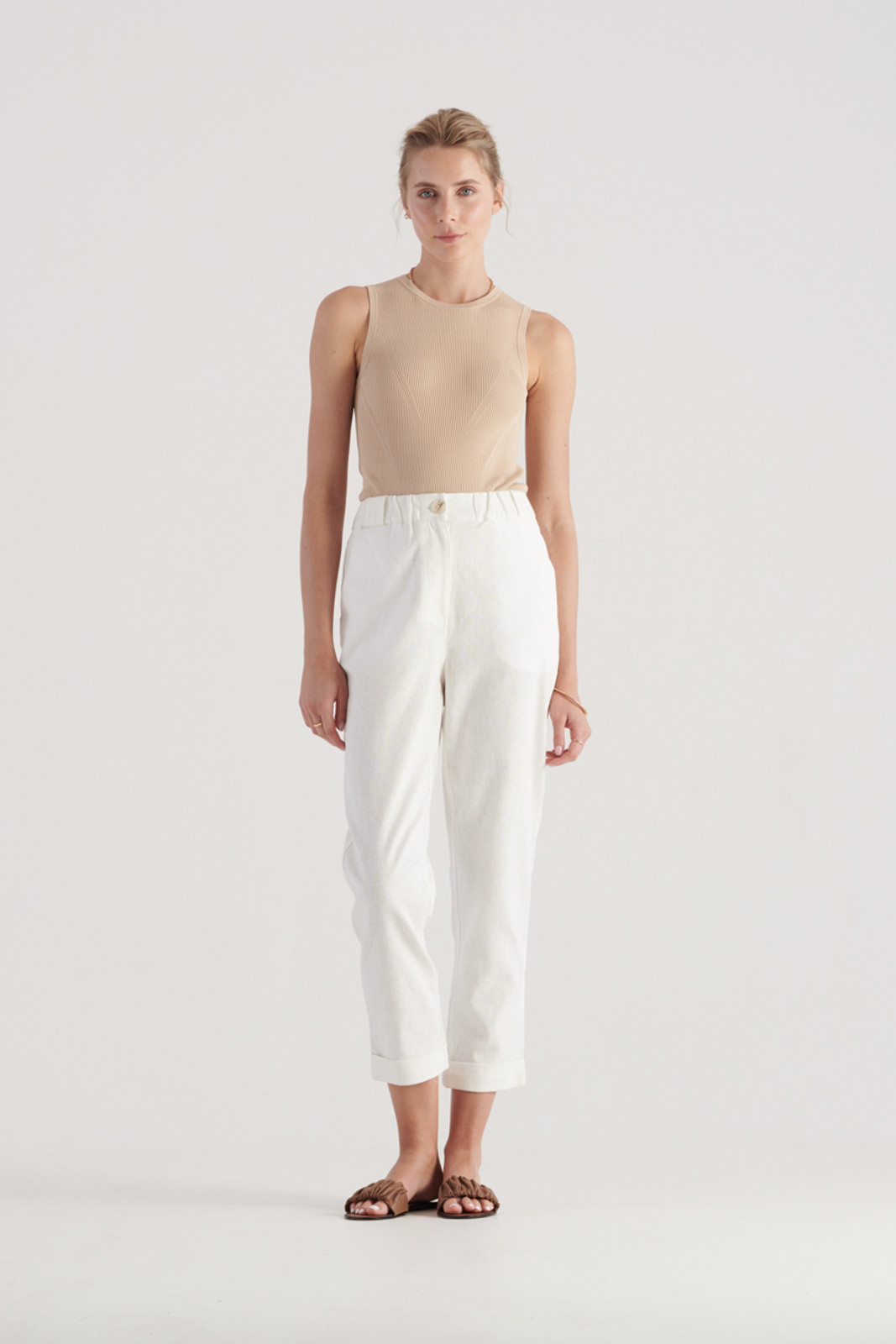 Elka Collective Womens White Margot Pant 1