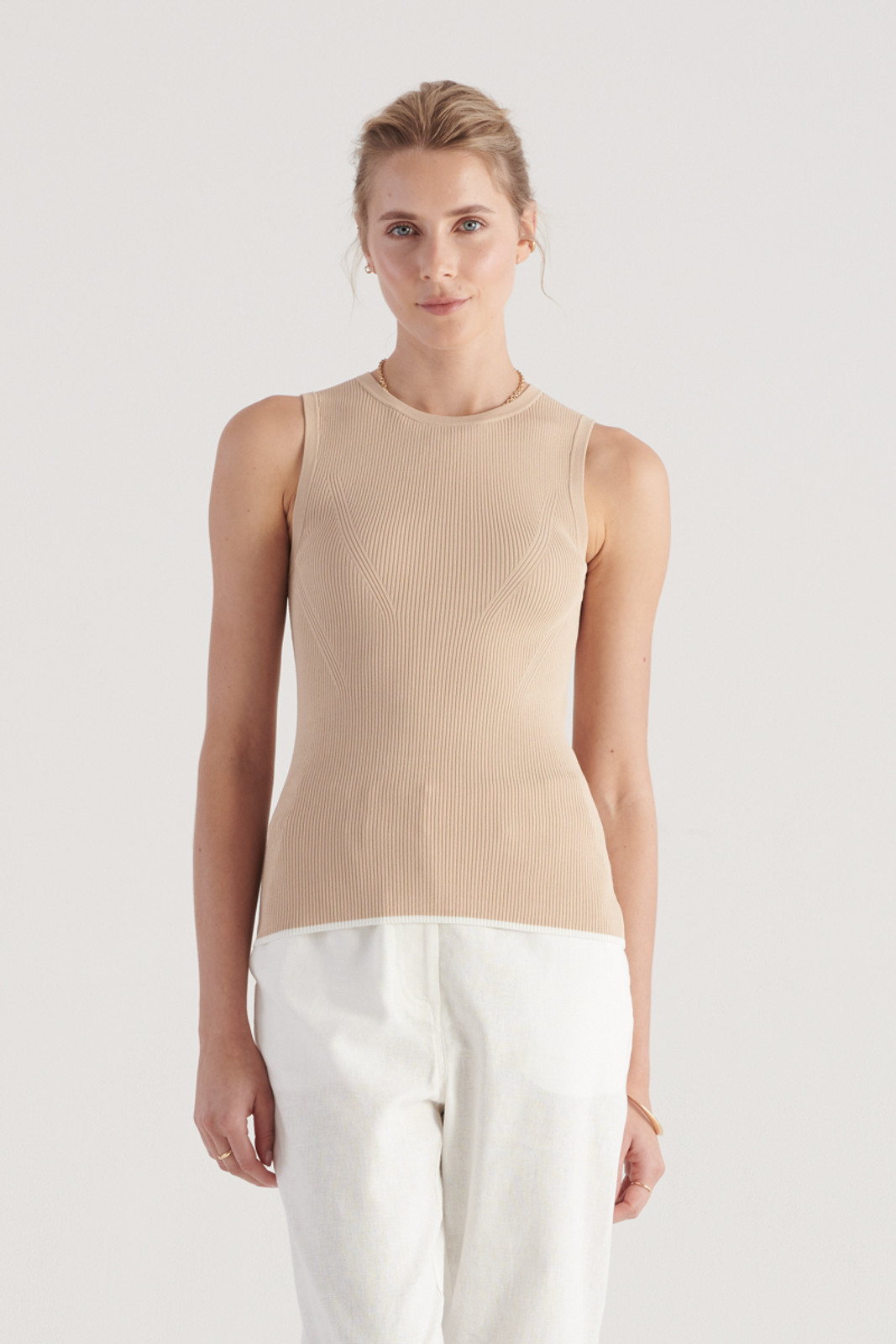 Elka Collective WomensTone Knit Top Sand  0