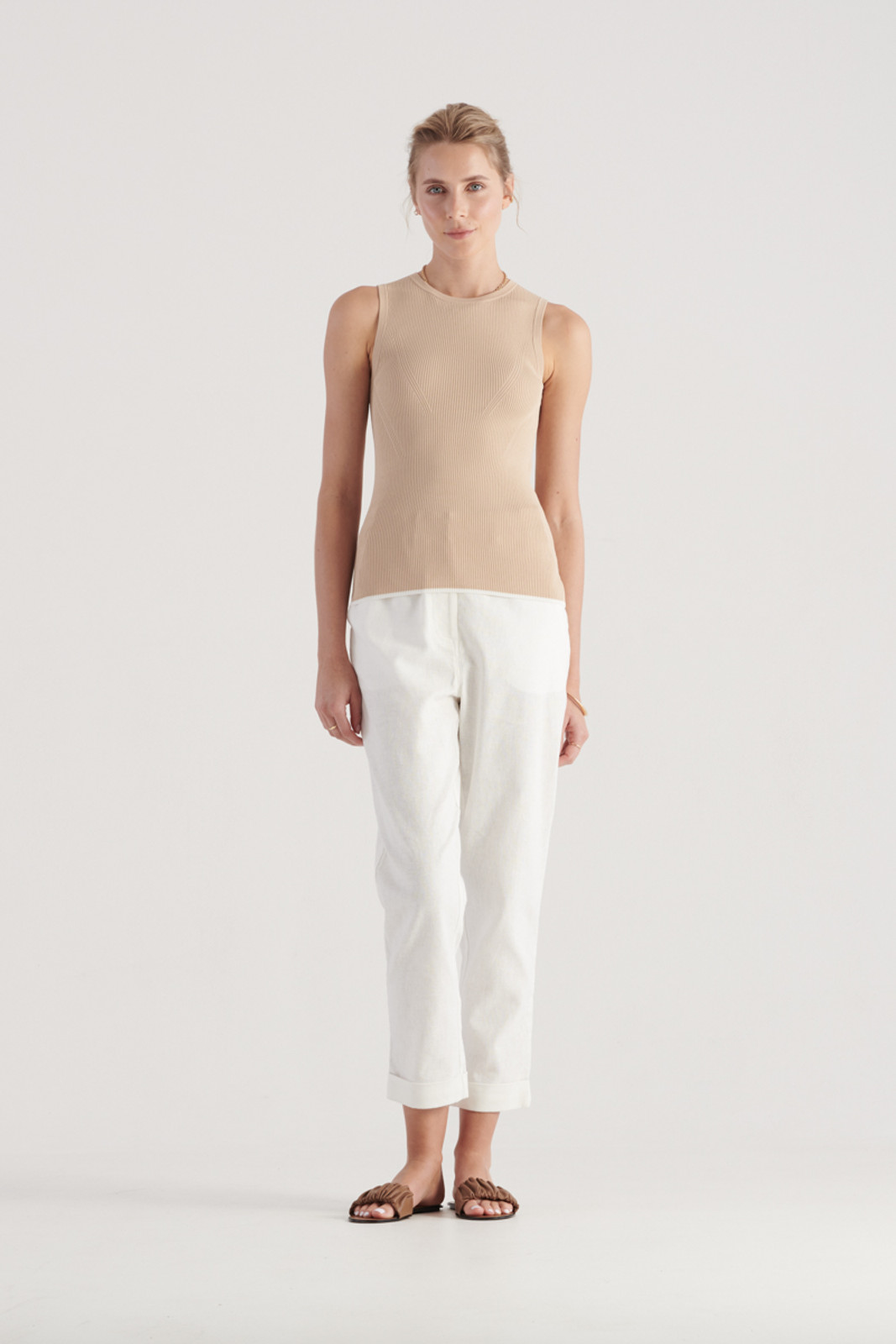 Elka Collective WomensTone Knit Top Sand  1