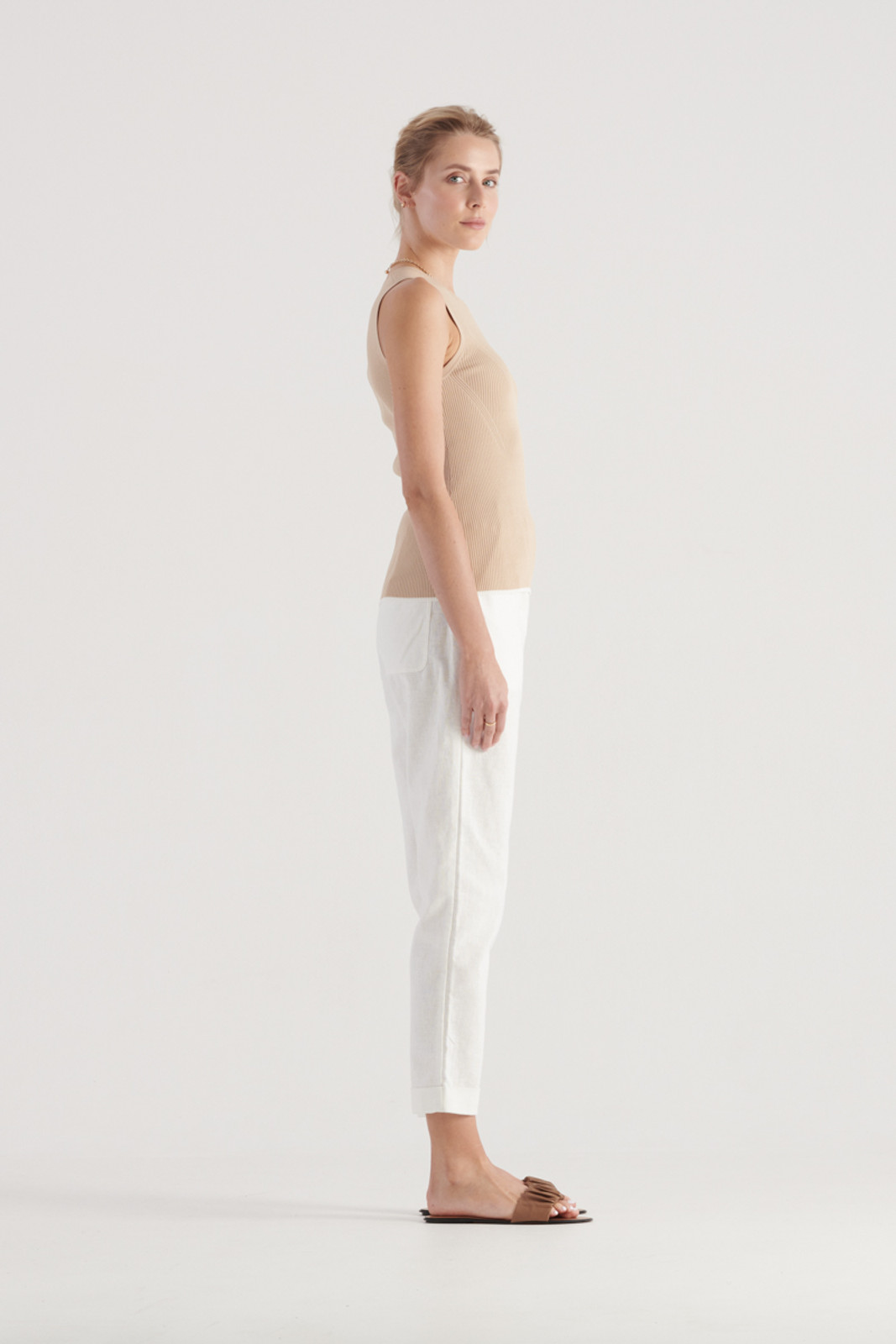 Elka Collective WomensTone Knit Top Sand  4