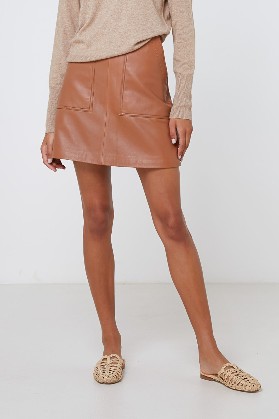 Elka Collective Lucette Leather Skirt Neutrals  7